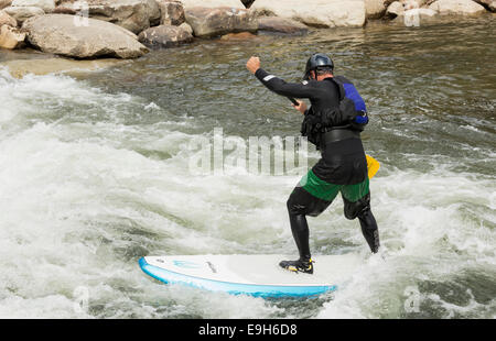Man on a stand-up paddle board in the rapids of River Arkansas at Buena Vista, Colorado, USA - Stock Photo