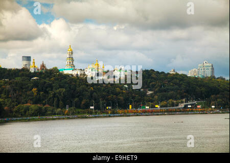 Overview of Kiev on a cloudy day - Stock Photo