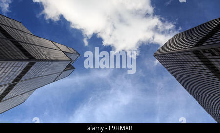 Two skyscrapers seen from below in Chicago, IL, USA. - Stock Photo