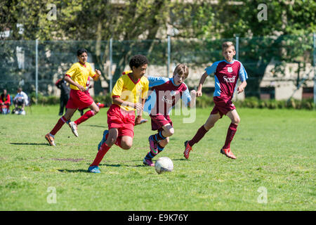 Two young football players of U15 fight for the ball, Cape Town, South Africa, Cape Town, South Africa - Stock Photo