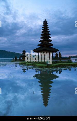 Pura Ulun Danu temple on Bratan lake before sunrise, Bali, Indonesia - Stock Photo