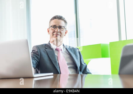 Middle-aged businessman with laptop sitting at conference table - Stockfoto
