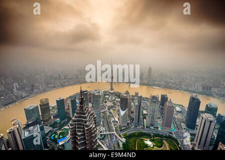 Shanghai, China City Skyline view over the Pudong Financial District. - Stockfoto