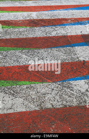 Full frame shot of multi colored pedestrian crossing - Stock Photo