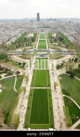 Aerial view of Parc du Champs de Mars in Paris, France seen from Eiffel Tower - Stock Photo