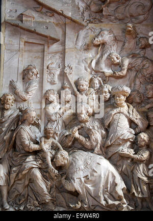 Biblical scene Saint Peter's Cathedral Trier Upper Mosel Valley Germany - Stock Photo