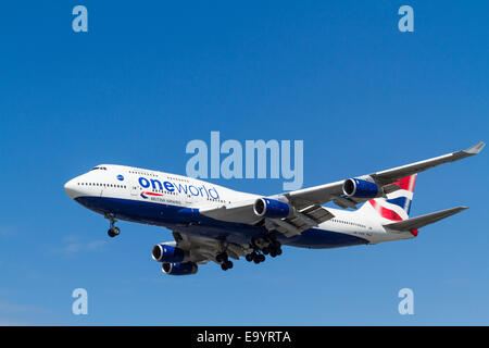 British Airways Boeing 747, G-CIVC, on its approach for landing at London Heathrow, England, UK - Stock Photo