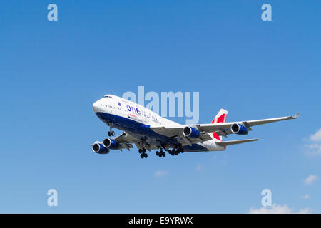 British Airways Boeing 747-436, G-CIVD, on its approach for landing at London Heathrow, England, UK - Stock Photo