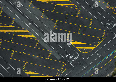 Aerial view of empty truck parking lot, Port Melbourne, Melbourne, Victoria, Australia - Stock Photo
