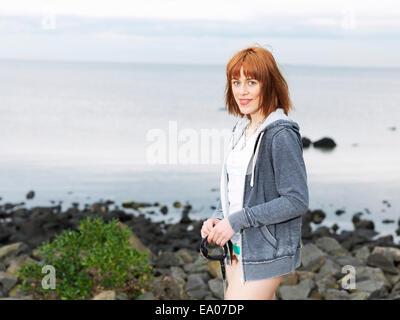 Young woman enjoying beach, Williamstown, Melbourne, Australia - Stock Photo