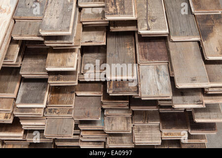Stacks of treated wood flooring in factory, Jiangsu, China - Stock Photo