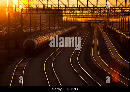 railroad station at sunset - Stock Photo