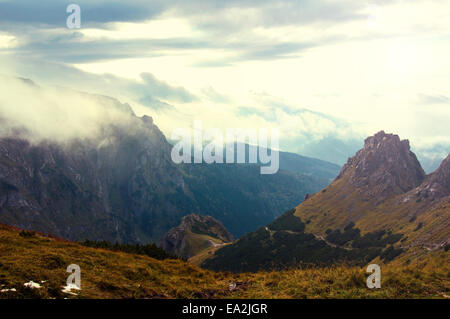 Clouds and fog over mountains. Beauty in nature landscape. - Stock Photo