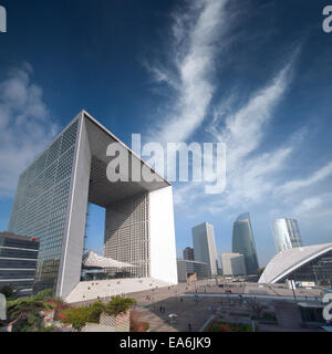 France, Paris, La Defense, Skyscrapers and clouds - Stock Photo