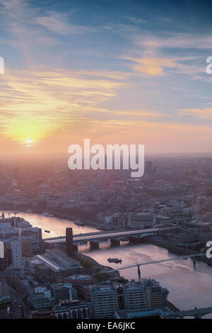 UK, London, Cityscape during sunset - Stock Photo