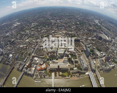 UK, London, Aerial view of city with Tate Modern - Stock Photo