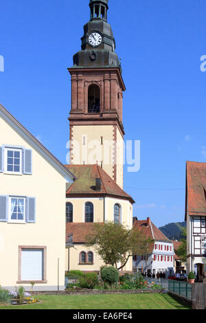 Typical German church tower in the picturesque rural town of Haslach in the district of Ortenaukreis, Black Forest, - Stock Photo