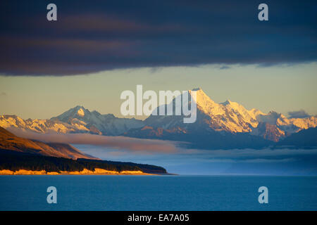 Mt Cook view from the beautiful blue lake Pukaki, New Zealand, South Island - Stock Photo