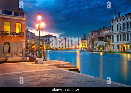 Venice.  Image of Grand Canal in Venice, Italy during twilight blue hour. - Stock Photo