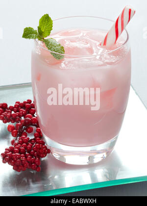 Candy Cane Holiday Cocktail - Stock Photo
