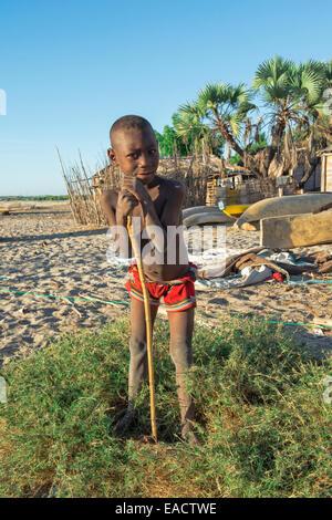 Malagasy Boy smiling, Betany village, Morondava, Toliara province, Madagascar - Stock Photo