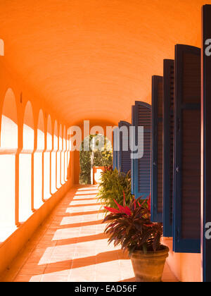 outdoor hall in latin america with decorative blue shutters and potted plants - Stock Photo