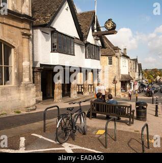 Historic town hall market place, Burford, Oxfordshire, England, UK - Stock Photo