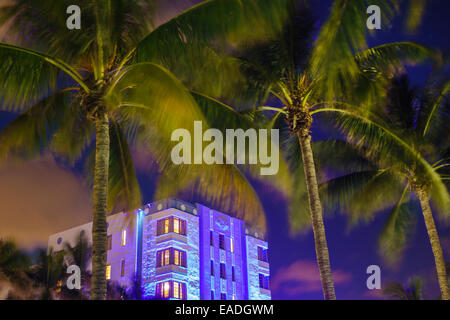 Miami Beach Florida Art Deco District Ocean Drive dusk evening night palm trees Park Central hotel building - Stock Photo