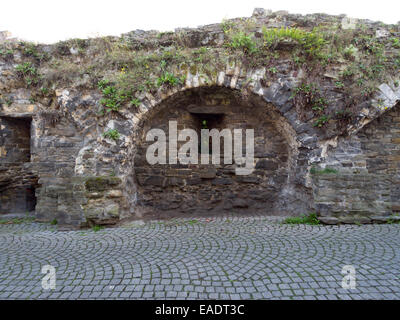 Old medieval city wall in Maastricht, The Netherlands, Europe - Stock Photo