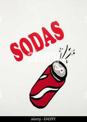 hand painted sign advertising soda for sale - Stock Photo