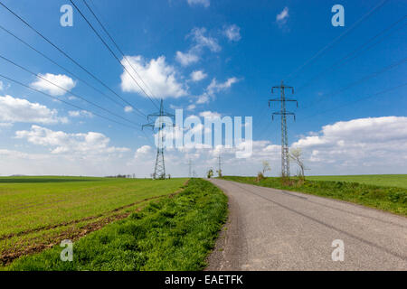 Transmission, power lines in a field - Stock Photo