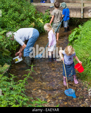 Group of children fishing in a stream with nets. - Stock Photo