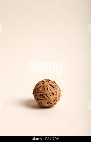 ball made up of fawn rubber bands - Stock Photo