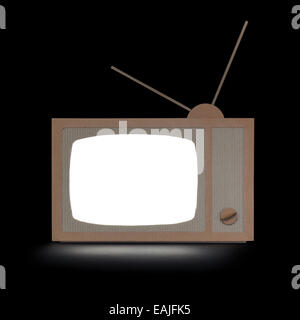 TV made of cardboard, with white isolated screen. - Stockfoto