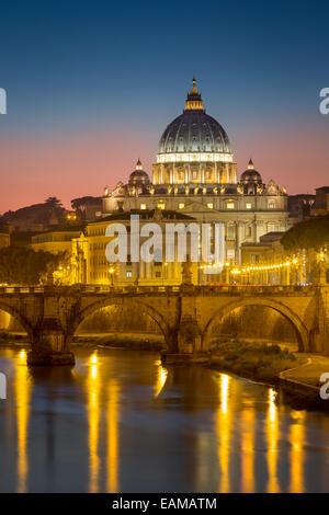 Twilight over River Tibor and the dome of San Pietro, Vatican, Rome, Lazio, Italy - Stock Photo