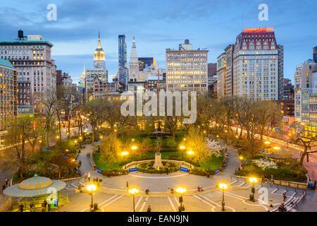 New York City, USA cityscape at Union Square in Manhattan. - Stock Photo