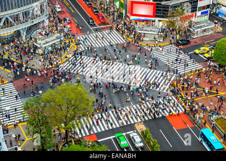 Tokyo, Japan view of Shibuya Crossing, one of the busiest crosswalks in the world. - Stock Photo