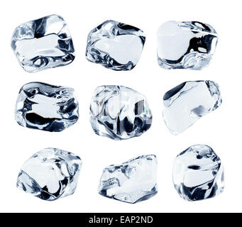 Ice cubes collection, isolated on white background - Stock Photo