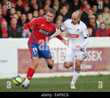 Dagenhams Jake Reed tussles with Millwalls Jack Smith.Dagenham & Redbridge v Millwall in the the FA Cup with Budweiser, - Stock Photo