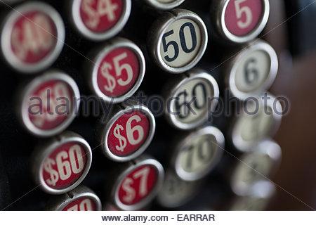 Vintage cash register, close-up of number keys. - Stock Photo