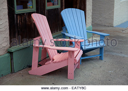 Colorful chairs in Ocean City, New Jersey. - Stock Photo