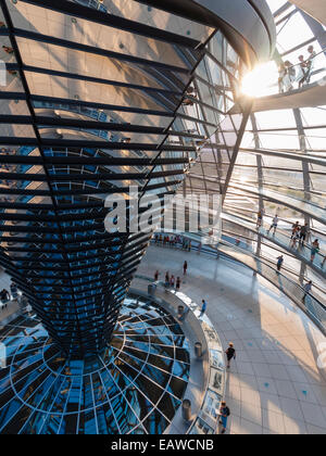 Glass dome on top of Berlin Reichstag, the German house of  parliament (designed by architect Sir Norman Foster) - Stock Photo