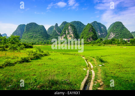 Karst Mountain landscape in rural Guilin, Guangxi, China. - Stock Photo