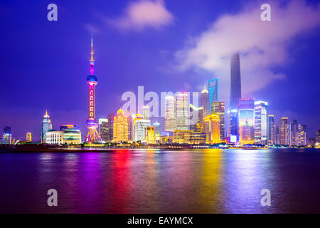 Shanghai, China city skyline of the Pudong Financial District. - Stock Photo