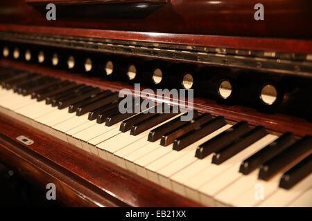 close up vintage piano keyboard keys - Stock Photo