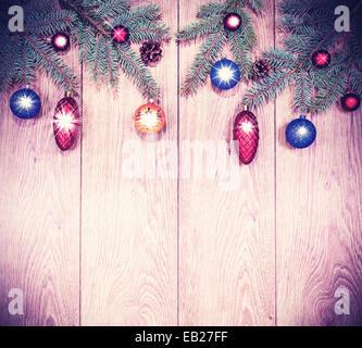 Vintage christmas background, decoration a wooden board. - Stock Photo