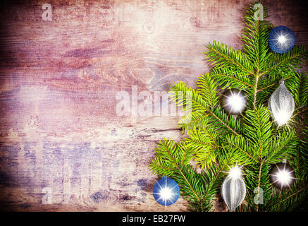 Christmas background, decoration on a rustic wooden board. - Stock Photo
