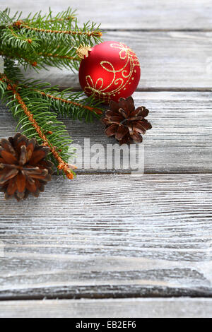 Pine branches with Christmas decorations, merry xmas - Stock Photo