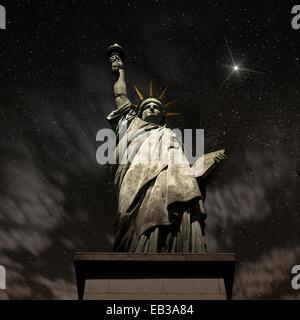 USA, New York State, New York, Statue of Liberty at night - Stock Photo