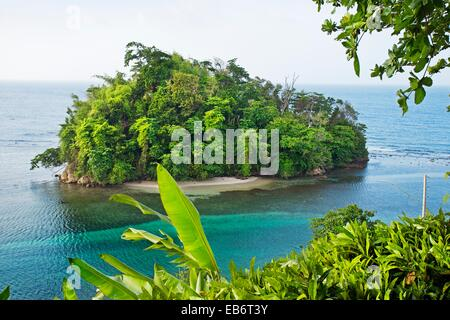 Islet on the coast of Port Antonio, Jamaica, West Indies, Caribbean, Central America. - Stock Photo